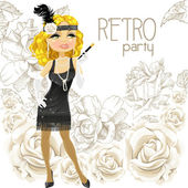 Cute blond woman with mouthpiece on Retro party card — Stock Vector