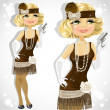 Blond woman with small pistol in retro dress — Stock Vector #16352585