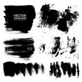Handdrawing textured brush strokes — Stock Vector