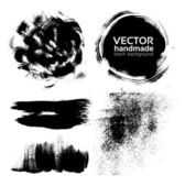 Vector handmade brush strokes set painted by ink — Stock Vector