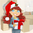 Young business lady in Santa's cap gives a gift from company — Stock Vector
