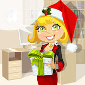 Business lady in Santa's cap in Christmas in morning office gives a gift from the company — Stock Vector
