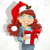 Business lady in Santa's cap gives a gift from — Stock Vector