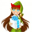 Stock Vector: Cute elf Santa's assistant give Christmas gift