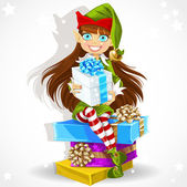 Cute girl the New Year's elf Santa's assistant give a Christmas gift — Stock Vector