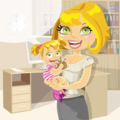 Pretty business mom with baby girl in office — Stock Vector