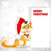Cute cat in Santa's hat holding a banner congratulating — Stock Vector