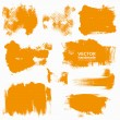 Abstract orange vector set backgrounds draw by brush and ink — Stock Vector