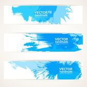Abstract blue handdrawing banner set — Stock Vector