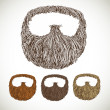 Stock Vector: Neat beard in color variations