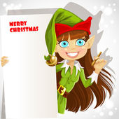 Cute girl the Christmas elf with a banner for your congratulation — Stock Vector