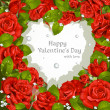 Valentine's Day card with red roses and diamonds - 图库矢量图片