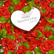 Valentine's Day card  red roses background — Stok Vektör