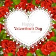 Happy Valentine's Day card  on red roses background — Image vectorielle
