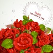 Bouquet of red roses with a happy Valentine`s day card — Imagen vectorial
