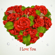 Heart fromf red roses Valentine`s day card - Imagen vectorial