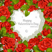 Valentine's Day card with red roses and diamonds — Vettoriale Stock