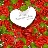 Valentine's Day card red roses background — Cтоковый вектор