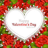 Happy Valentine's Day card on red roses background — 图库矢量图片