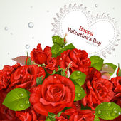 Bouquet of red roses with a happy Valentine`s day card — Stockvector