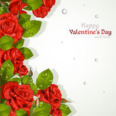 Valentine`s day card with red roses with a field for your text — Stockvektor