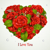 Heart fromf red roses Valentine`s day card — Cтоковый вектор