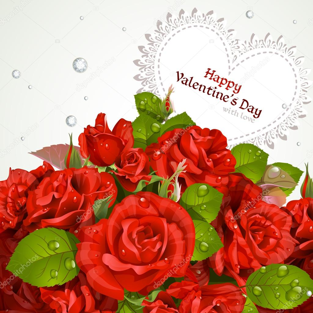 Bouquet of red roses with a happy Valentine`s day card — Stock Vector #16972727