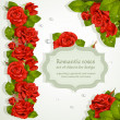 Set of corners and repeating garland for design from red romantic roses — Stock Vector