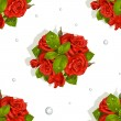 Royalty-Free Stock 矢量图片: Seamless pattern of a romantic bouquet of red roses and diamonds