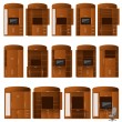 Collection of cabinets bureaus of different configurations for convenient work and storage — Stock Vector