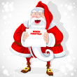 Cute Santa Claus hold banner with Christmas greetings — Stockvektor
