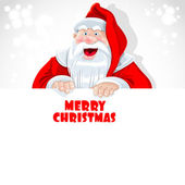 Cute Santa Claus hold big banner with Christmas greetings — Stock Vector