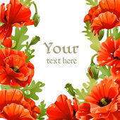 Framing of red poppies for your text — Stock Vector