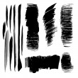 Stock Vector: Abstract black vector brush strokes