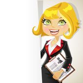Blond business woman with white banner for your text — Stock Vector