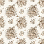 定型化された花や果実のシームレスなビンテージ飾り — ストックベクタ