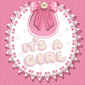 It`s a girl baby shower on bib — Stock Vector