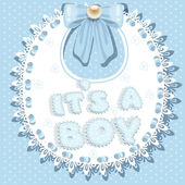 It`s a boy baby shower on bib — Stock Vector