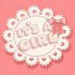 It`s a girl pink baby shower with openwork background and bow — Stock Vector