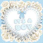 It`s a boy baby shower on heart and roses background — Stock Vector