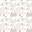 Seamless pattern of female subjects - underwear, cosmetics, shoes — Stock Vector