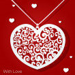 Openwork heart applique paper on red background — 图库矢量图片