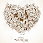 Heart of the climbing plant with leaves. Vintage Valentine card — Stock Vector