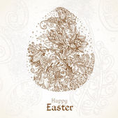 Happy Easter vintage background with delicate egg of the fabulous flowers — Stock Vector