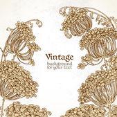 Wild flowers - umbrellas vintage background — Stock Vector