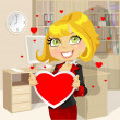 Festive business lady in office hold Valentine — 图库矢量图片