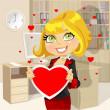 lady business festiva in San Valentino di attesa ufficio — Vettoriale Stock