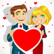 Royalty-Free Stock Vectorielle: Cute man and woman holding a valentine greeting Valentine\'s day