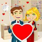 Cute businessman and business woman in office holding a valentine greeting Valentine's day — Stock Vector
