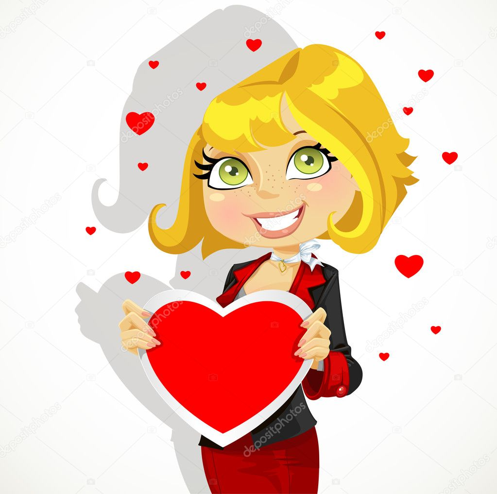 Festive business lady hold Valentine  — Image vectorielle #18884849